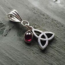 Silver Garnet Charm, Tibetan Celtic Triquetra Pendant mind/body/spirit wicca