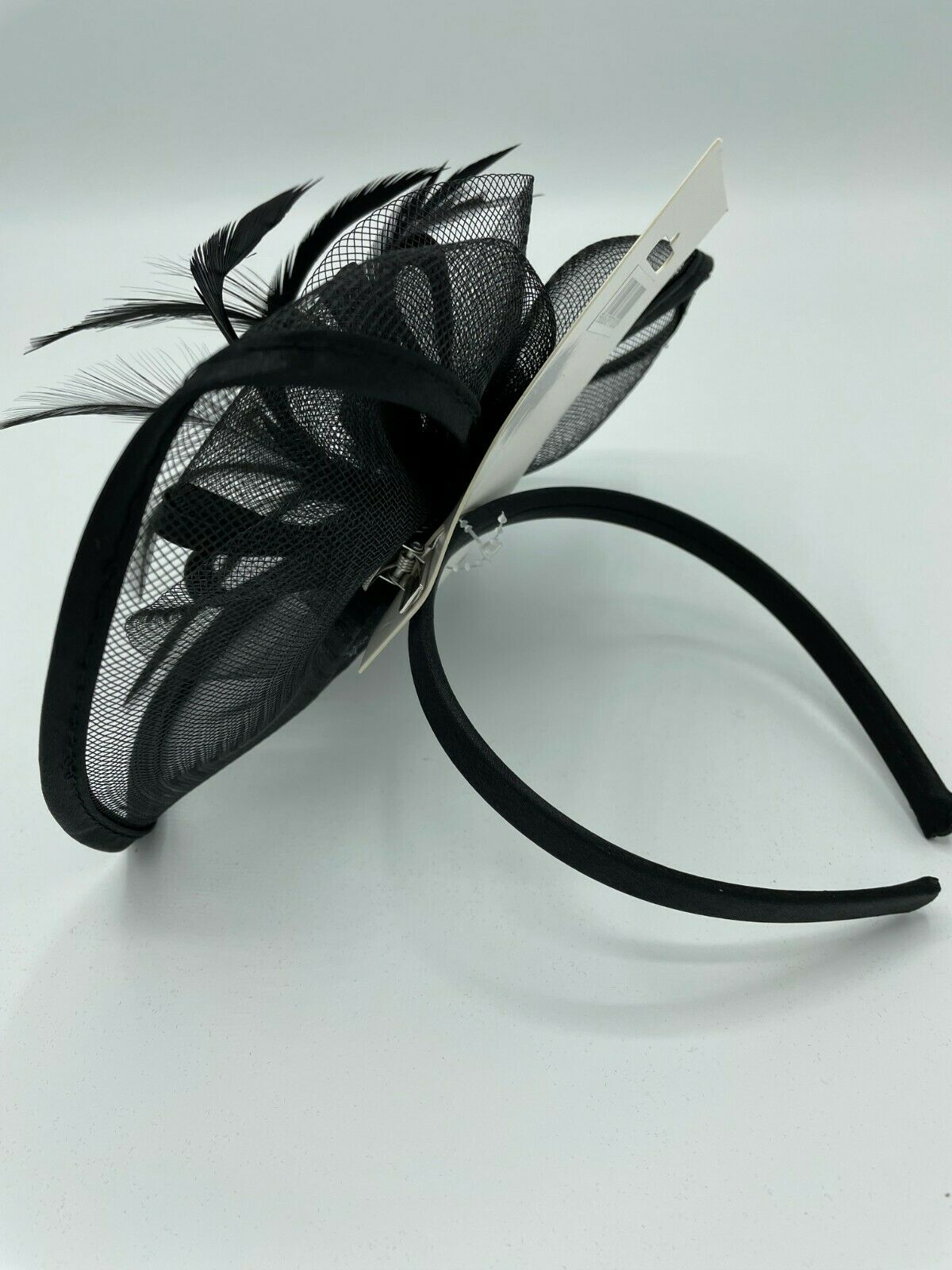 * Brand new Black fascinator & headband clip on wedding church hat piece feather