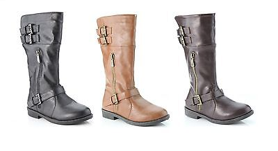 Anna Girl's Dress Up Fashion Flat Heel Mid Calf Riding Boots Faux Leather Shoes