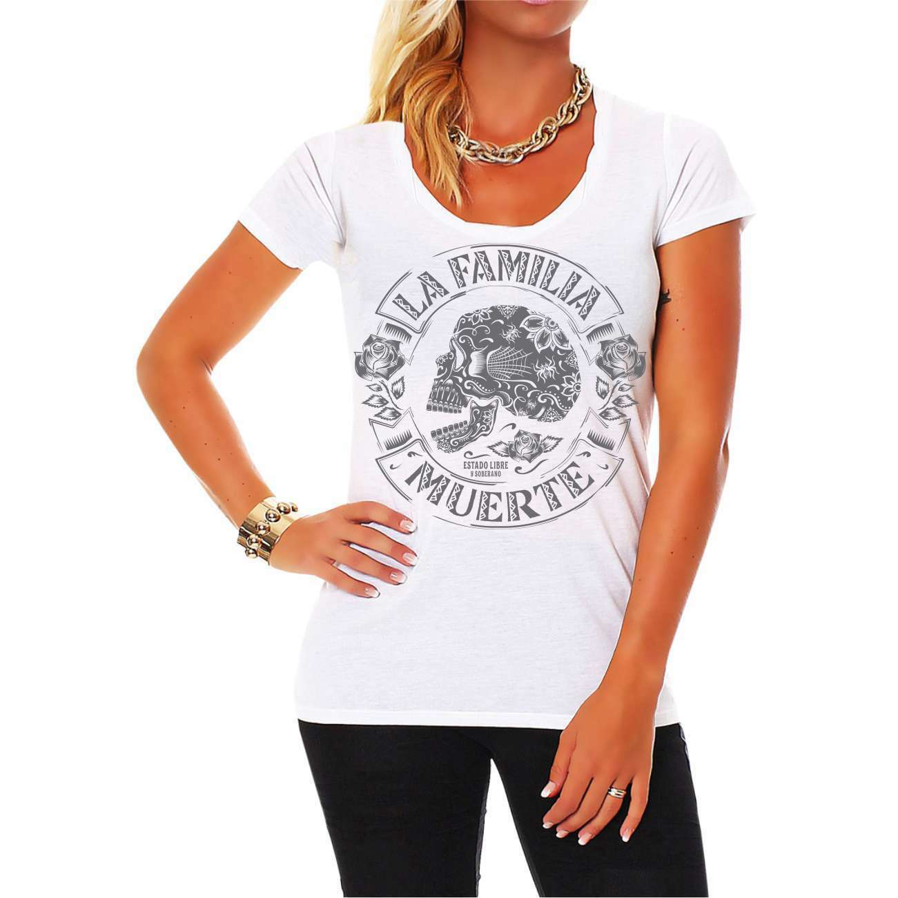 Frauen Trägershirt Top La Familia Family First crew support club gang support