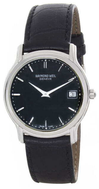 Raymond Weil Men's RW5569 Tradition Black Dial Black Leather Strap Watch 33mm