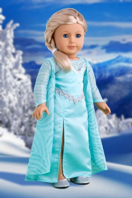 Snow Queen - 18 inch Doll Clothes, Disney Frozen Elsa Dress Cape Silver Shoe
