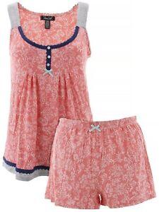 Rene-Rofe-Women-039-s-Paisley-Coral-Short-Pajamas