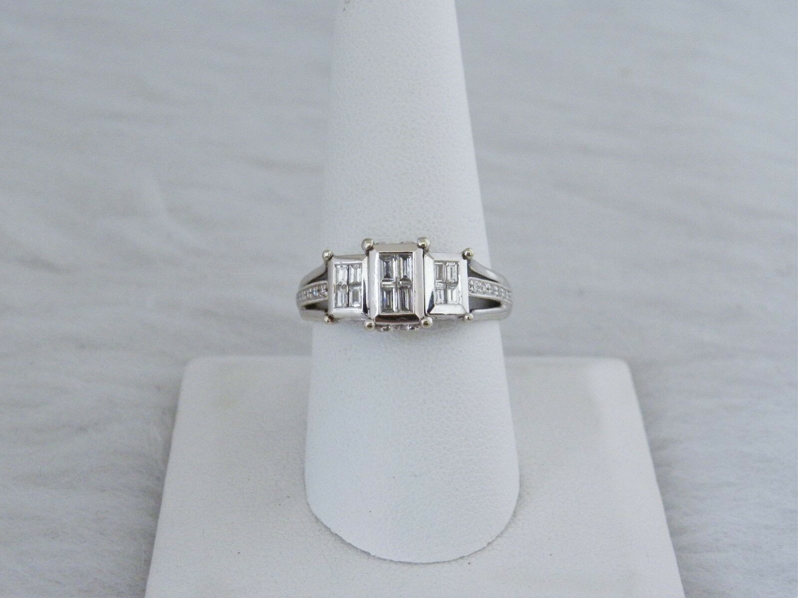 18K ring w  1CT. total weight Emerald cut Diamonds