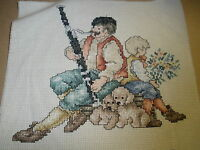 Finished Counted Cross Stitch Man Playing Bassoon, Boy, Puppies
