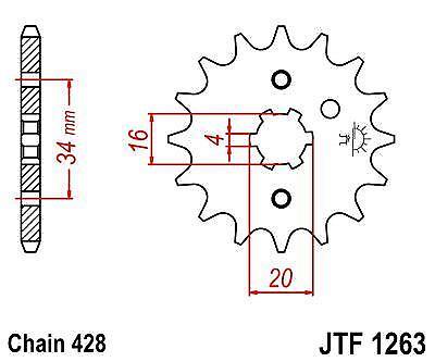 Front Drive Sprocket JTF1263 14t fits Yamaha XT125 R 05-07 JT