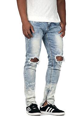 3058/_Camel KDNK Men/'s Camo Distressed Ankle Zip Jeans Kayden K