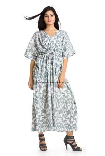 Ikat Bohème Femmes Long Caftan Maxi Nightwear Imprimé Caftan Robe De Coton