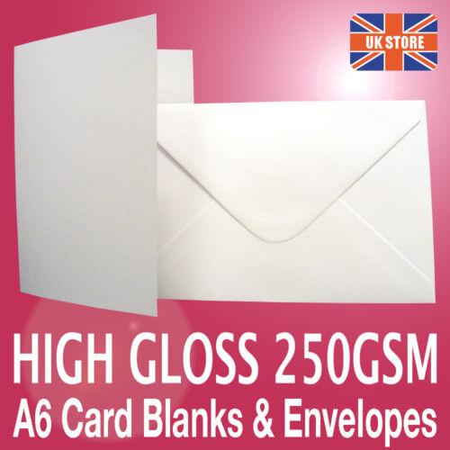 50 x A6 C6 White Gloss Card Photo Blanks 250gsm & Plain White 100gsm Envelopes