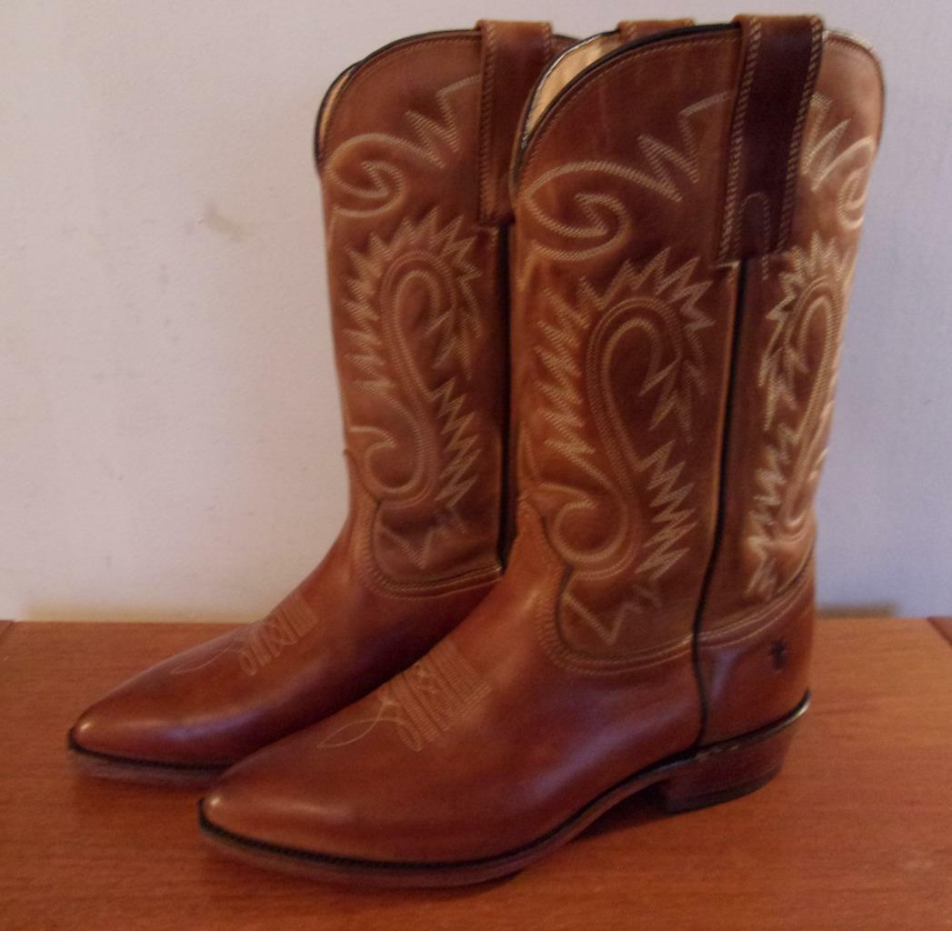 FRYE MEN'S COWBOY BOOTS LIGHT BROWN LEATHER SIZE 9.5 D MADE IN USA