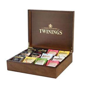bnib twinings dark wood tea display box brass hinges 120 mixed