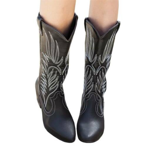 Details about  /Womens Vintage Cowgirl Cowboy Boots Mid Wide Calf Low Heel Western Shoes