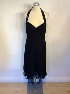 Halterneck Black Cocktail Trim Uk 12 Ricco Dress Silk Size Beaded Donna Floaty 1Iqpx4w