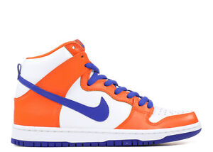 Nike SB DUNK HIGH TRD QS Safety Orange Blue White Discount (697) Men's Shoes