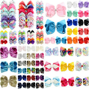 Hair-Bows-Clips-Bow-Kids-Girls-School-Ribbon-Dance-Cheer-Floral-Accessory-Set