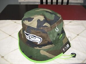 MENS NEW ERA SEATTLE SEAHAWKS CAMO LIME GREEN Bucket Hat XL NWT  e3a2a191c0da