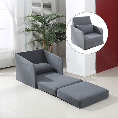 HOMCOM Single Sofa Bed Armchair Soft Floor Sleeper Lounger Futon Couch w/ Pillow