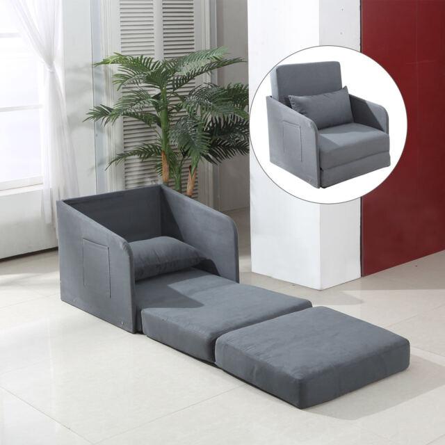 Homcom Single Sofa Bed Armchair Soft Floor Sleeper Lounger Futon Couch W Pillow