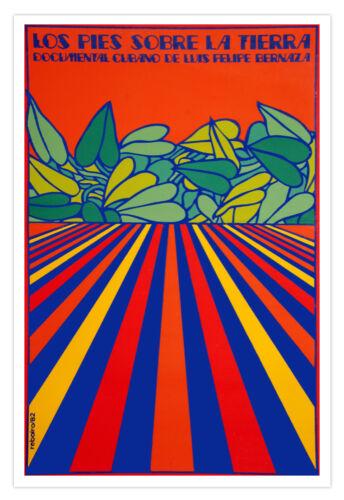 Spanish movie Poster 4 Cuba film.PIE sobre Tierra.Feet on Ground.Psychedelic art