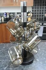 Vintage 1970s Arcoroc 6 Glass Pyrex Mug Set and Mug Tree Set made in France