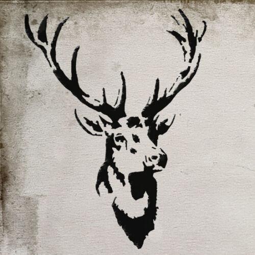 Cerf Pochoir Vintage Décor Maison Mural Tissu Meubles Peinture Idéal Pochoirs