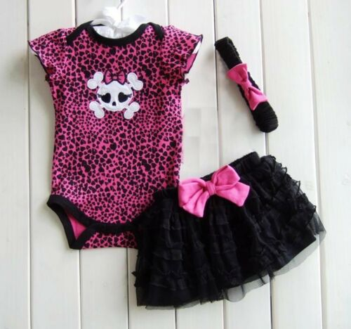 Baby Girl Halloween Skull Skeleton Party Costume Romper Dress Headband tutu Set