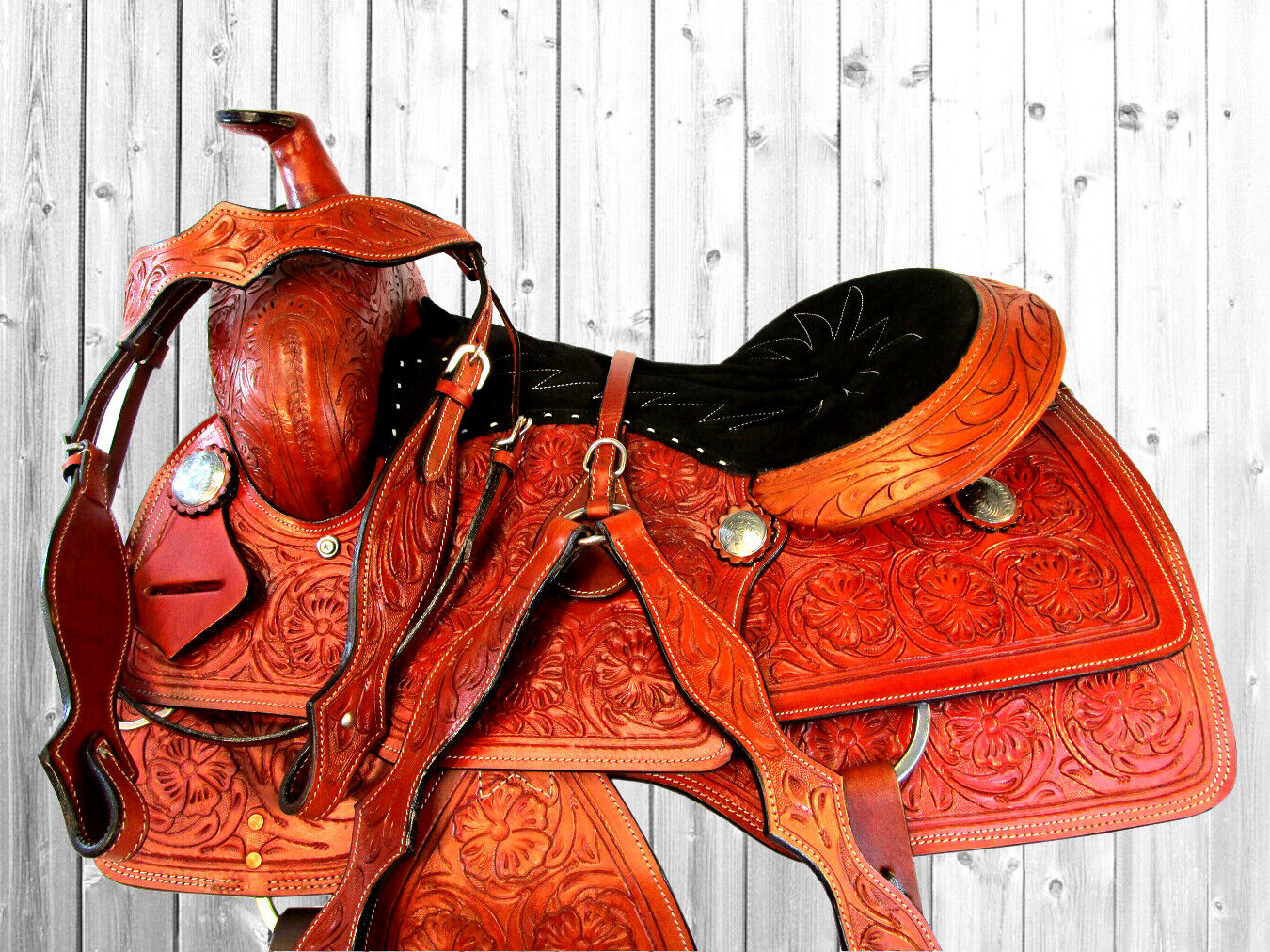 16 17 PLEASURE TRAIL SELLE  PER CAVALLI TOOLED LEATHER WESTERN ROPING SADDLE SET  cheapest