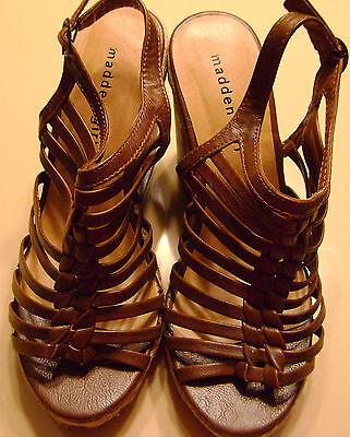 NIB Womens Madden Girl Ease Cognac Paris Tan Platform Wedges Sandals Shoes