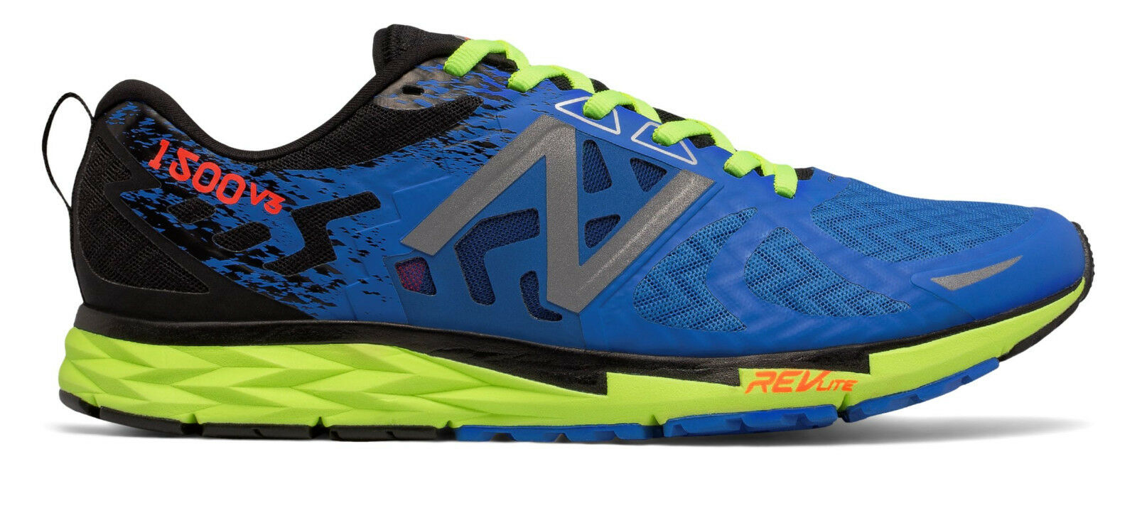 NEW BALANCE M1500BG3 Running Shoes, Men`s Size 11.5 Wide, ElectricBlue/Lime, NEW