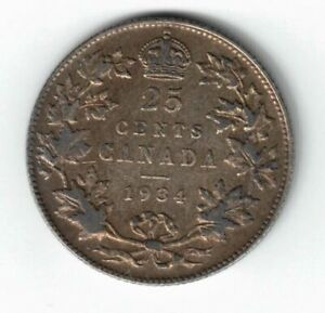 CANADA-1934-TWENTY-FIVE-CENTS-QUARTER-KING-GEORGE-V-800-SILVER-CANADIAN-COIN