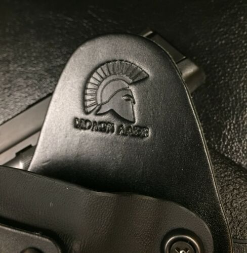 "MP 380 Shield EZ 3.6"" IWB Hybrid Holster Leather Appendix Carry Black Kydex"