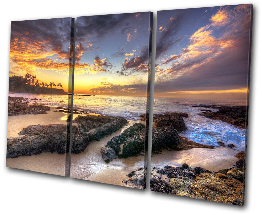 Sunset Seascape shore Island  TREBLE TREBLE TREBLE TELA parete arte foto stampa 34d32d