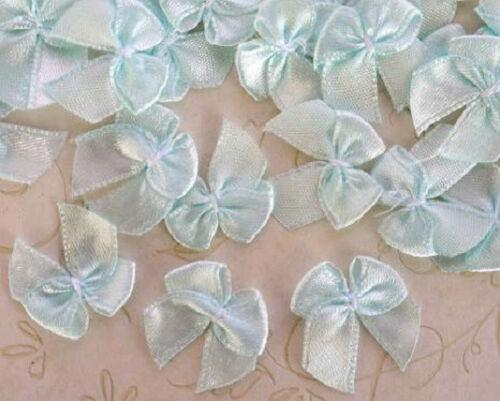 100 Satin Ribbon Bow//doll//trim//sewing//wedding//dress//Craft//Light//Baby F17-Blue