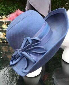 Mitzi-Lorenz-Boutique-Bleu-Marine-Vintage-debordaient-acetate-Hat-55-cm
