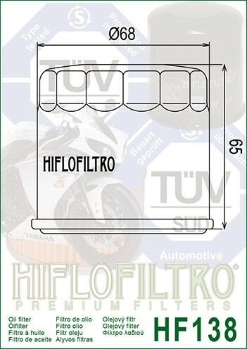 Suzuki SV1000 S-K3-K72003-07 HiFlo HF138C Chrome Oil Filter