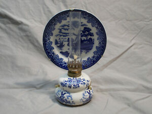 Small-Vintage-Pottery-Oil-Lamp-Lantern-Blue-Willow-Dutch-Windmill-Japan
