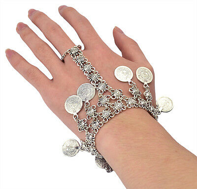 New Handmade Silver Coin Floral Boho Gypsy Beachy Ethnic Bracelet With Ring