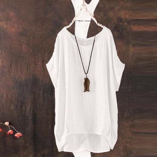 Damen Leinenbluse Longbluse Sommer Kurzarm Top Shirt Oberteil Tunika Vintage 48