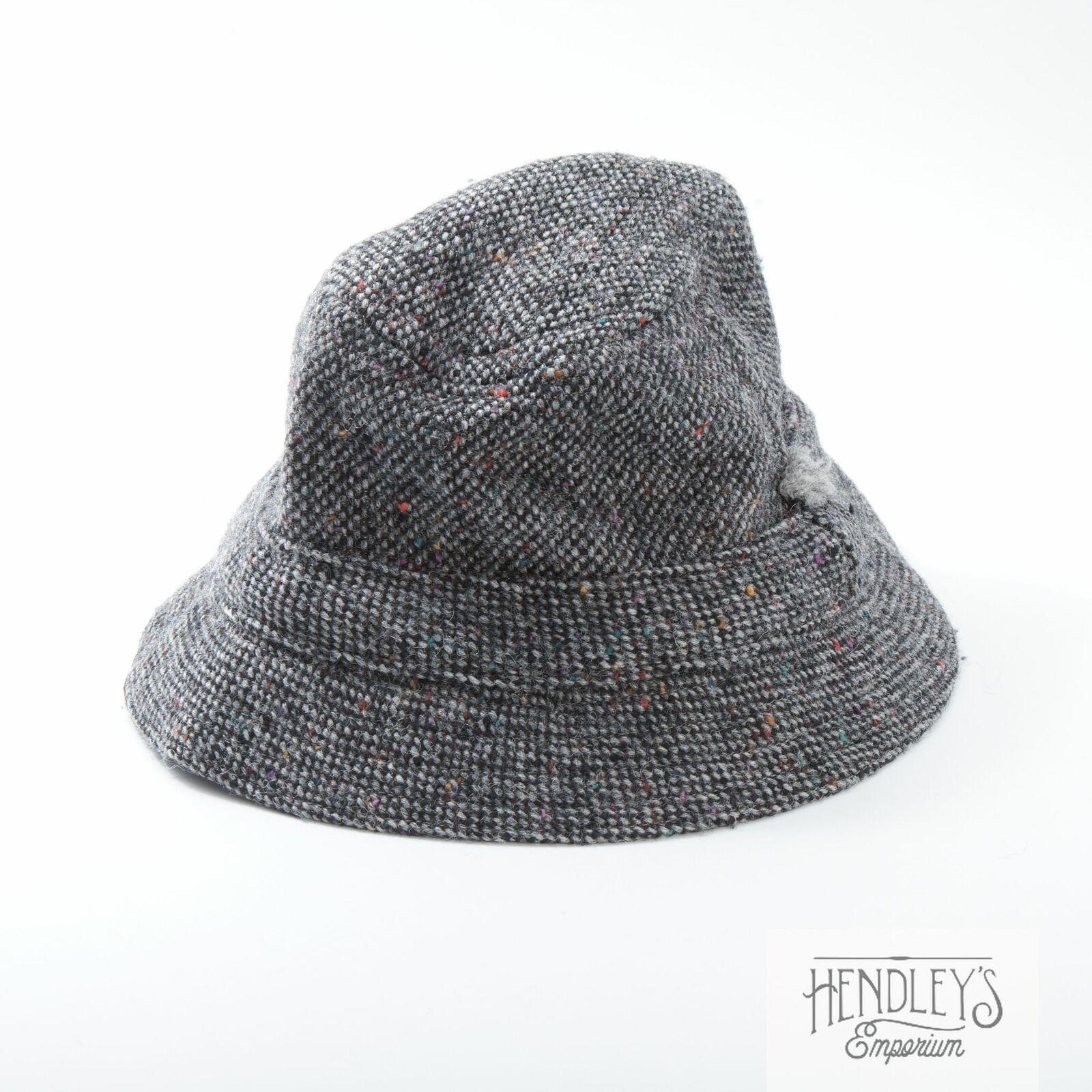 Herren Donegal Tweed Eimer Hut L IN Ash Grau Gesprenkelt Wolle Von Hanna Irland