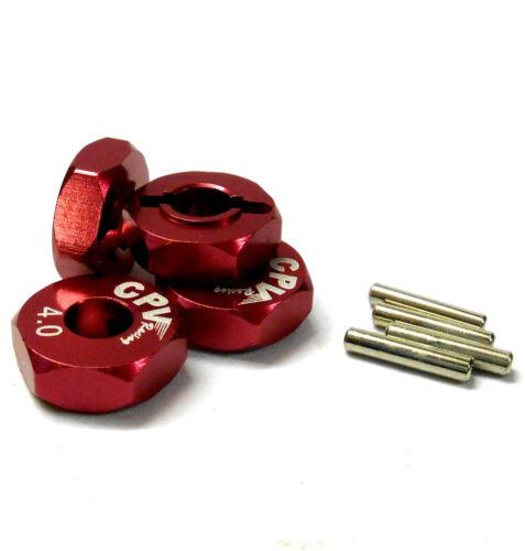 57814R 1//10 Scale RC M12 12 mm roue alliage Adaptateurs avec pins Écrou rouge largeur 4 mm