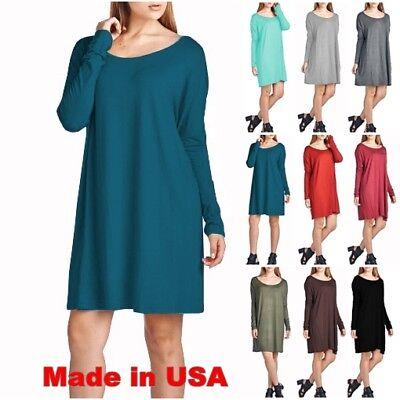 USA Women Dolman Top Shirt Long Sleeve Scoop Neck Asymmetrical Tunic PLUS S M L