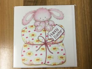 🐥 Petite Happy Easter Card (Bunny Sat On An Easter Gift) 🐥 New & Sealed 🐥