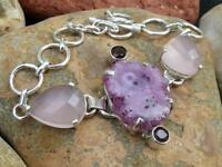 925 Silver Bracelet Pink Solar Druzy/rose Quartz/garnet Handcrafted Jewellery