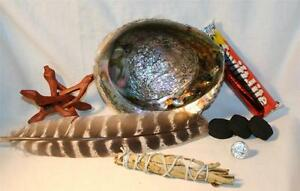Abalone-Shell-Yerba-Santa-Sage-Charcoal-Tablets-4-034-Wood-Stand-Smudging-Feather