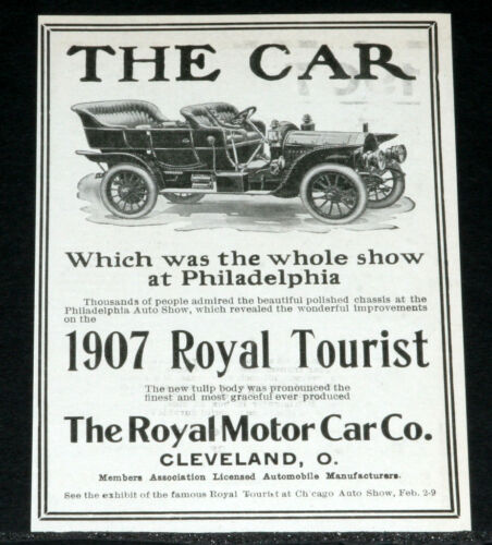 1907 OLD MAGAZINE PRINT AD, ROYAL TOURIST MOTOR CAR, TULIP BODY!