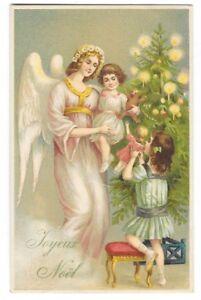 FANTAISIE NOEL carte postale ancienne gaufrée ange enfants sapin