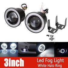 2X 3inch 3200Lm Round White Angel Eye Halo LED Projector Fog Light 4X4 ATV Truck