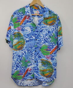 Jams-World-Men-039-s-Hawaiian-Button-Down-Shirt-Size-Large-Blue-Aloha-Camp