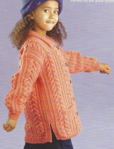 Baby// Child Aran Cable Jackets// Hood// Boy//Girl  0-8 Yrs  Knitting Pattern