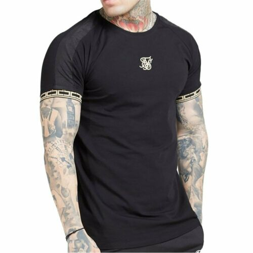 T-shirt SikSilk Ss Raglan Straight Hem Tape Gym Schwarz Herren